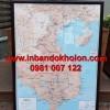 Bản đồ Việt Nam treo tường đóng khung lồng kính
