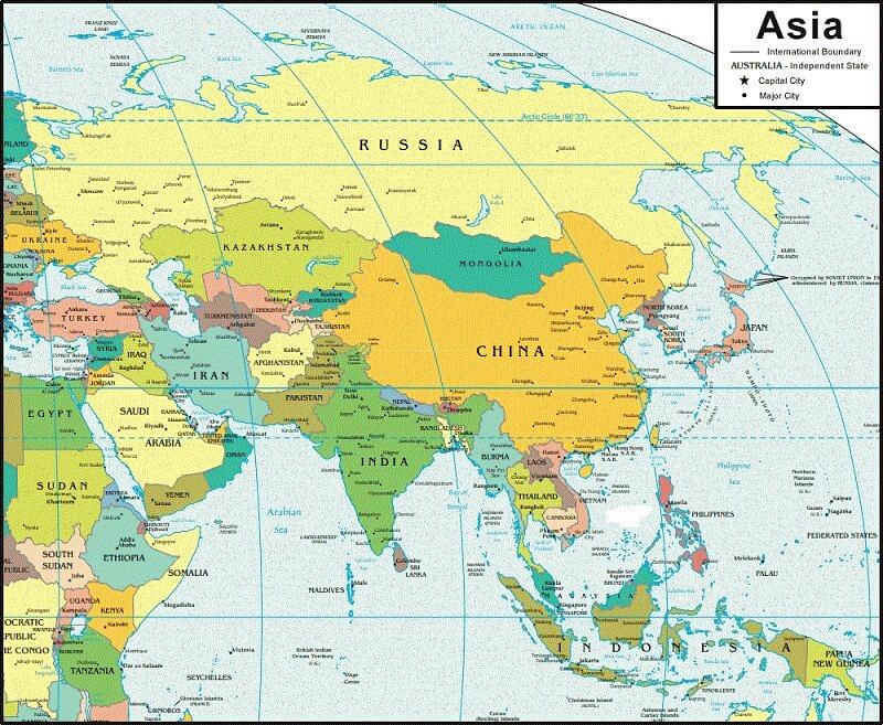 ban do chau a- asia map