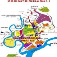 Bản đồ sơ đồ phân bố các dự án Q2, Q9